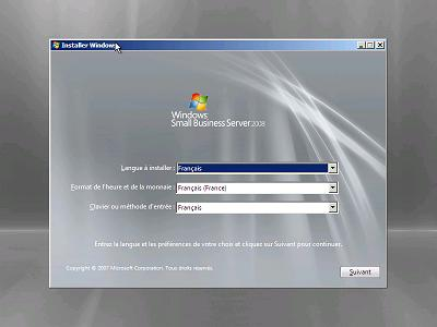 installation windows small business serveur 2008