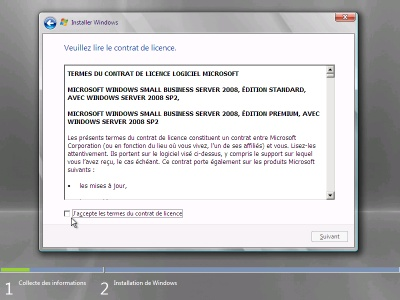 liscence contat (windows small business serveur 2008)